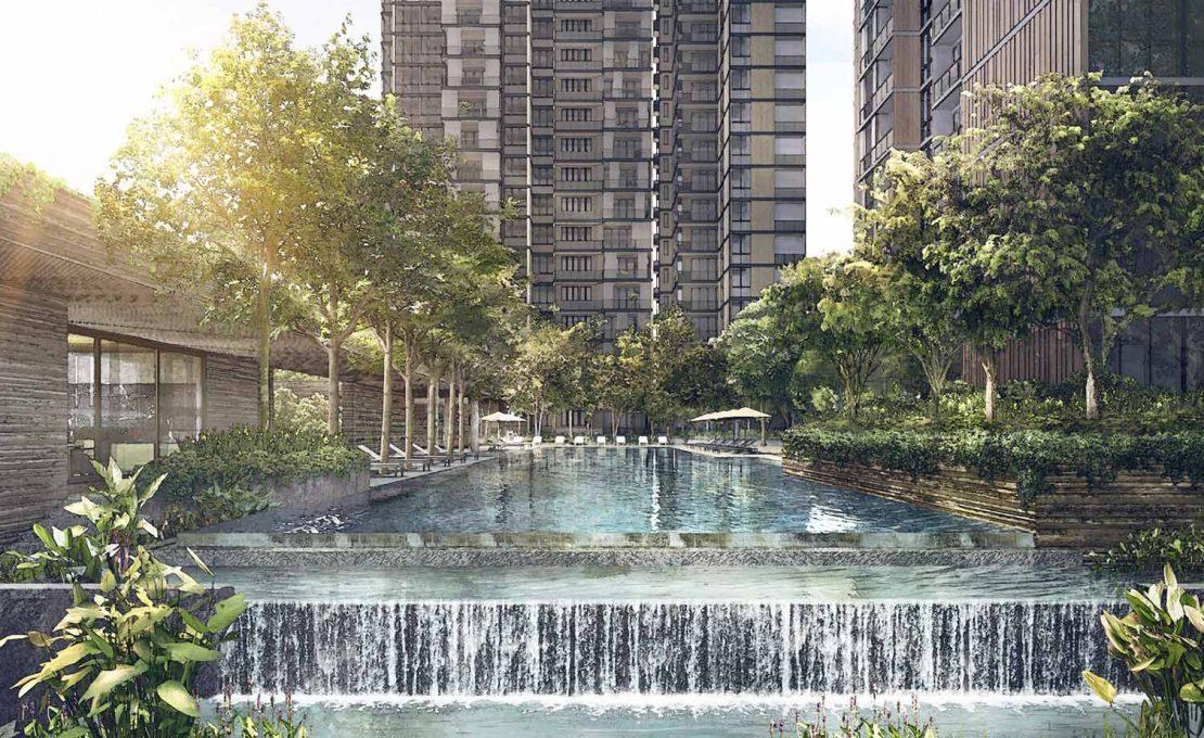 Martin Modern waterfall and pool